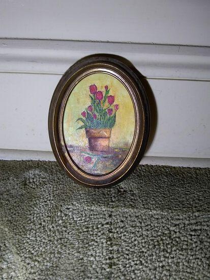 Acrylic Miniature Oval Oil on Canvas-Flower Pot