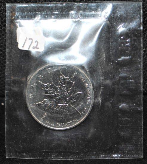 """RARE PALLADIUM """"MAPLE LEAF"""" .9995 1 OZ COIN"""