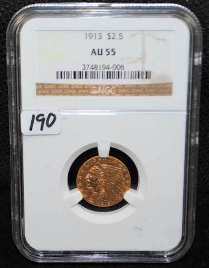 SCARCE 1913 $2 1/2 INDIAN GOLD COIN NGC AU55