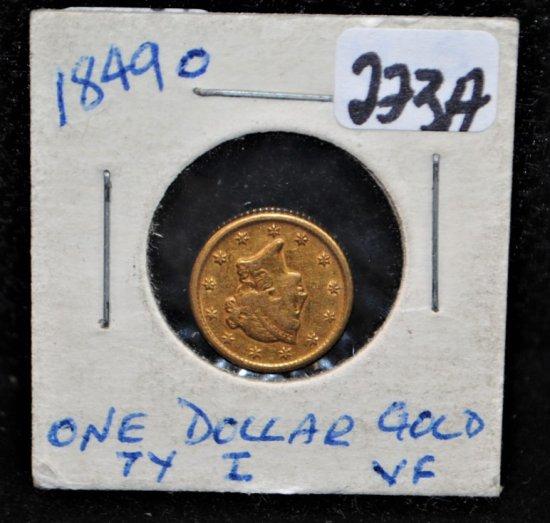 RARE 1849-0 $1 TYPE 1 GOLD COIN
