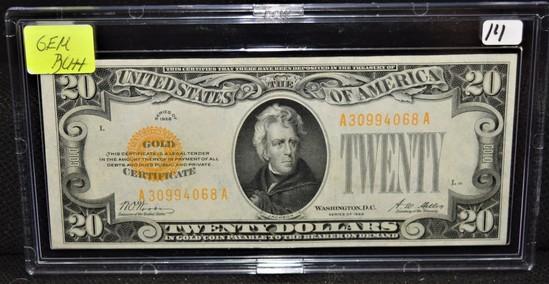 $20 GEM BU++ GOLD CERTIFICATE - SERIES 1928