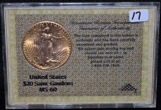 1927 $20 SAINT GAUDENS GOLD DOUBLE EAGLE MS60