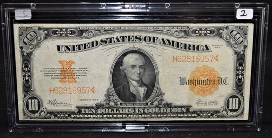 $10 LG SIZE GOLD CERTIFICATE - SERIES 1922