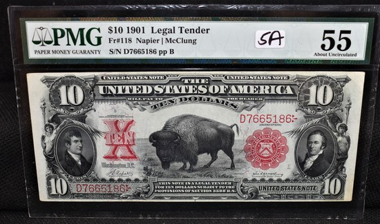 """RARE"" $10 ""BISON"" UNITED STATES NOTE PMG AU55"