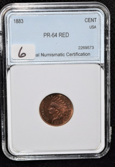 1883 INDIAN HEAD PENNY - NNC PR-64 RED