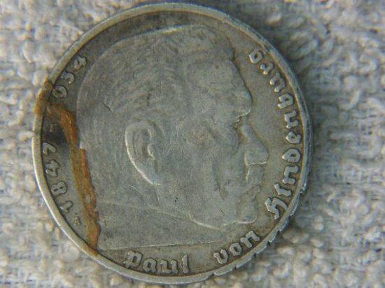 1935 German 5 Marks Silver Von Hindenburg
