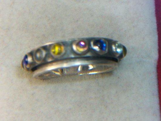 .925 Ladies 1 Carat Gemstone Ring Center Rotates 360°