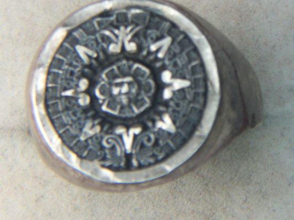 .925 Man's Mayan Calendar Ring