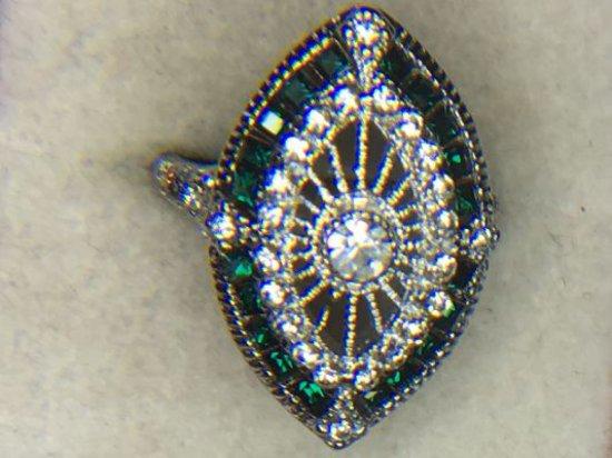 .925 Ladies Sapphire Filigree Ring 2 Carats