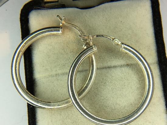 .925 Sterling Silver Ladies Large Hoop Earrings