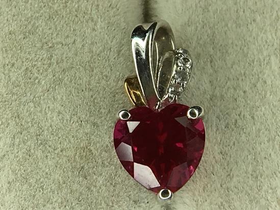 .925 Sterling Silver Ladies 3 Carat Ruby Chatam Pendant