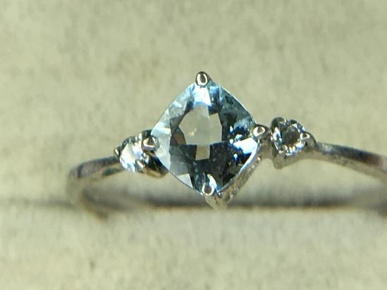 .925 Sterling Silver Ladies 1 Carat Aquamarine Ring