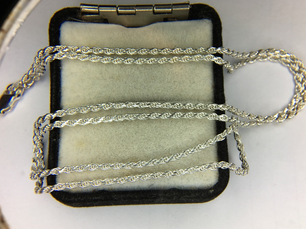 .925 Sterling Silver Unisex Diamond Cut Rope Necklace 24 Inches