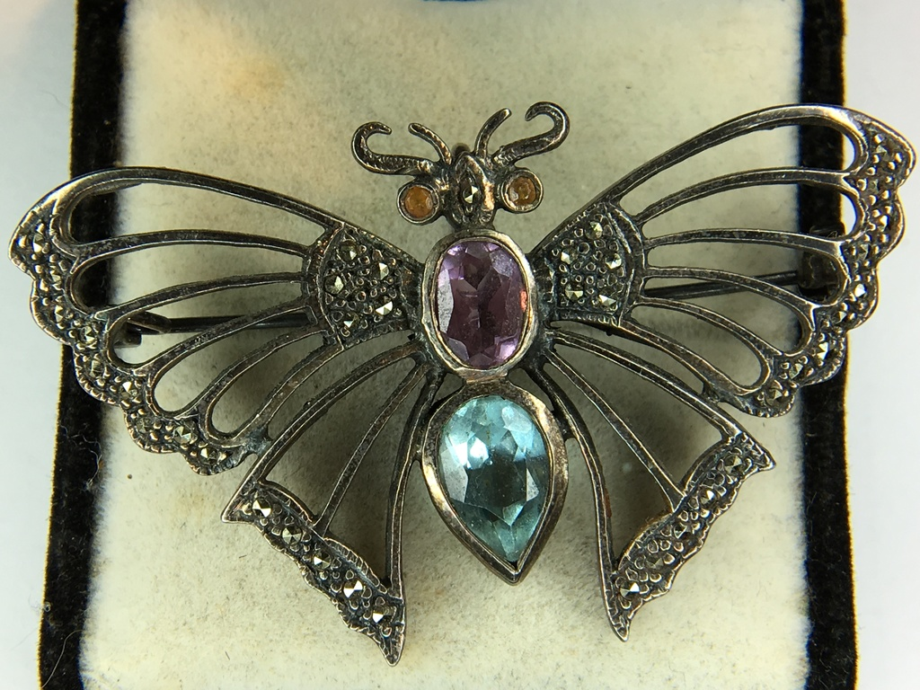 .925 Sterling Silver Ladies Large Gemstone Butterfly Pendant