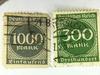 300, 1000 Mark Inflation German Stamps