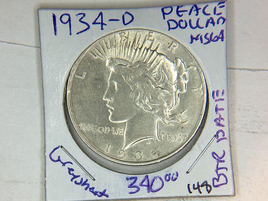 1934 D Peace Dollar