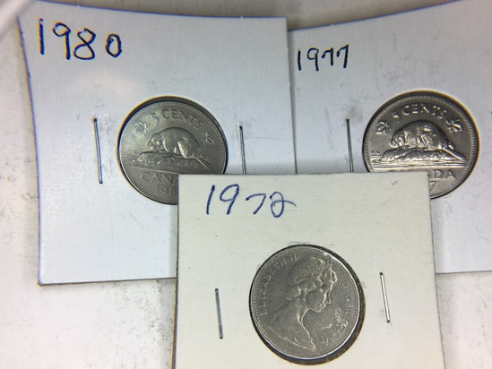 (3) Canadian Nickels