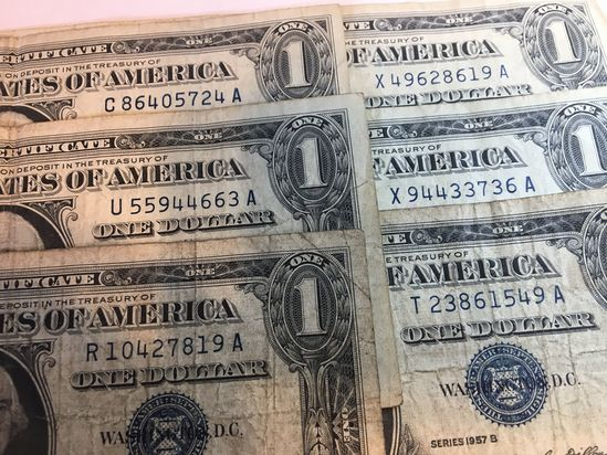 (6) 1957 Silver Certificates