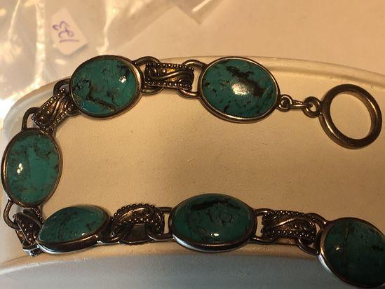 .925 Sterling Silver Ladies Large Turquoise Bracelet