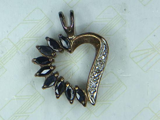 .925 Sterling Silver 1 Carat Sapphire Heart Pendant