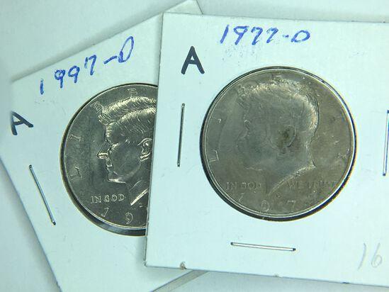 (2) Kennedy Half Dollars 1977 D, 1997 D