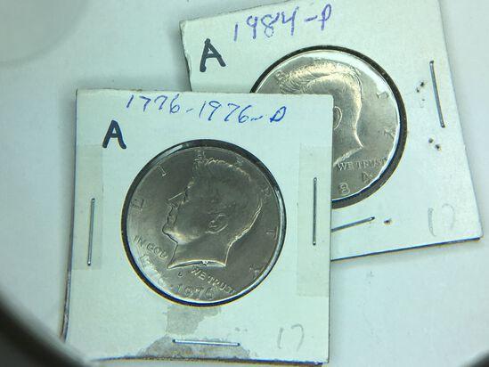 (2) Kennedy Half Dollars 1776-1976 D, 1984 P