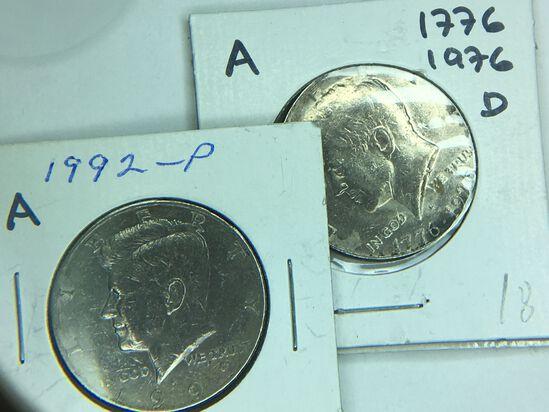 (2) Kennedy Half Dollars 1776-1976 D, 1992 P