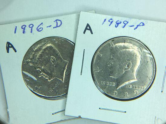 (2) Kennedy Half Dollars 1989 P, 1996 D