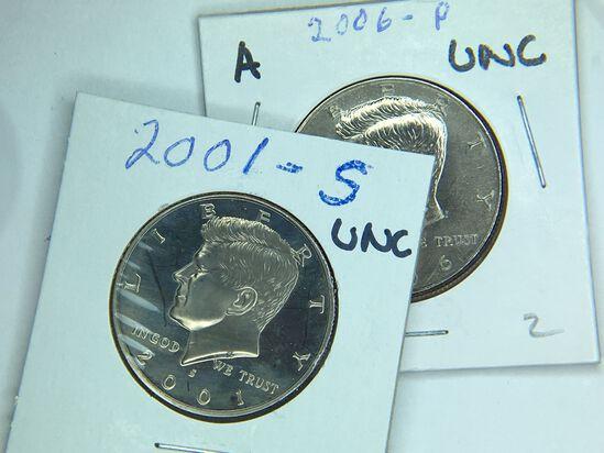 (2) Kennedy Half Dollars 2001 S, 2006 P
