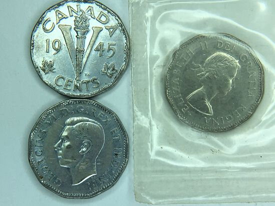 (3) Canadian Nickels 1945, 1945, 1961 (unc)