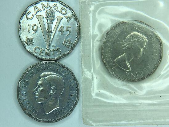 (3) Canadian Nickels 1945, 1945, 1961 (unc)