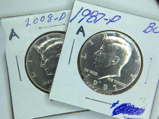 (2) Kennedy Half Dollars 1987 P(bu), 2008 D (unc)