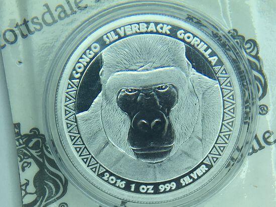 1 Ounce .999 Fine Silver, Silverback Gorilla