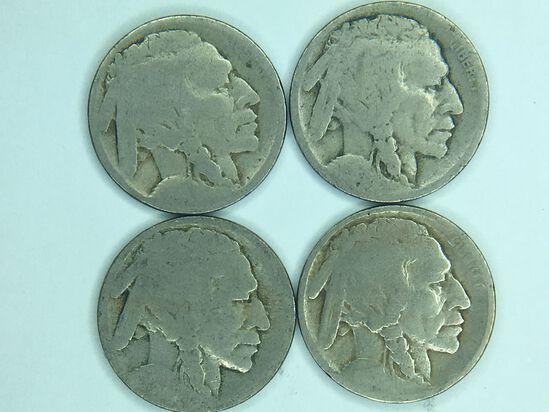 (4) Buffalo Nickels
