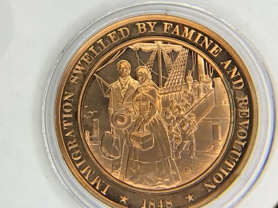 1848 Immigration Sweeled By Famine And Revolution Bronze 1.25 Ounce