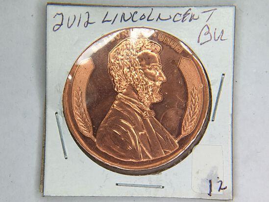 2012 Lincoln 1 Ounce Copper