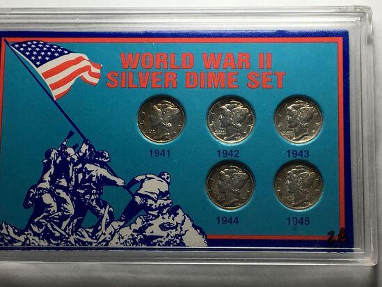 World War 2 Silver Mercury Dime Set