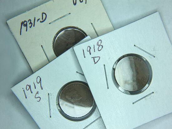 1918 D, 1919 S, 1931 D Lincoln Cent
