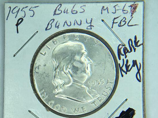 1955 P Franklin Half Dollar Bugs Bunny
