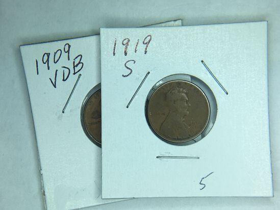 1909 V.D.B., 1919 S Lincoln Cent