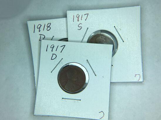 1917 S, 1917 D, 1918 D Lincoln Cent