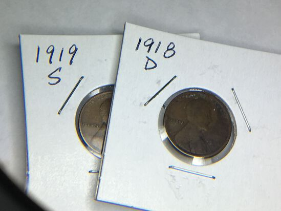 1918 D 1919 S Lincoln Cent