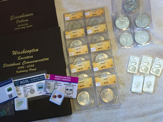 SILVER DOLLARS, ROUNDS, BARS, U.S COINS, & MORE