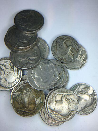 (20) Assorted Buffalo Nickels