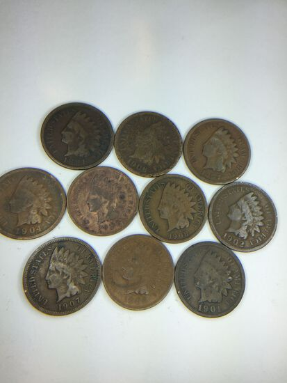 (10) Assorted Indian Head Cents