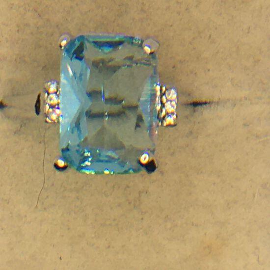 .925 Sterling Silver Ladies 5 Carat Blue Topaz Ring