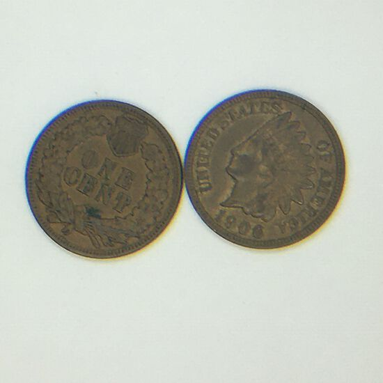 (2) 1906 Indian Head Cents