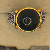 .925 Sterling Silver Unisex Black Sapphire Ring 3 Carat