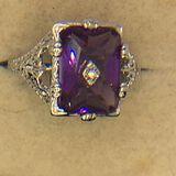 .925 Sterling Silver Ladies Filigree 3 Carat Amethyst Ring