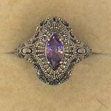 .925 Sterling Silver Ladies 1 Carat Amethyst Filigree Ring